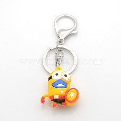 Zinc Alloy Lobster Claw Clasp Keychain, with Iron Ring and PVC Cartoon Minions Modelling Captain America Pendant, Yellow, 98mm(KEYC-F005-09)