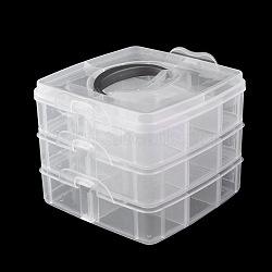 Boîte à outils en plastique nail art, boîte de rangement de maquillage, trois couches, clair, 12.5x15 cm(MRMJ-G001-55B)