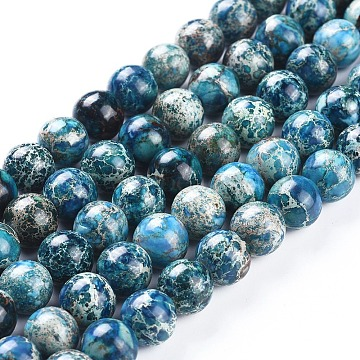 brins de perles de jaspe impérial naturel, teints, arrondir, cadetblue, 10 mm, trou: 1.8 mm; environ 40 perle / brin, 15.51 (39.4 cm)(G-G814-07-10mm-04)