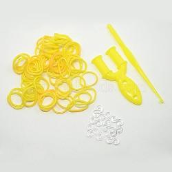 (vente de clôture défectueuse), bandes de caoutchouc recharges, avec outils et plastique s-clips, jaune, crochet: 80x6x3 mm; outil: 25x54x7 mm; Clip: 11x6x2 mm; bande: 6x1 mm; sur 260 pcs / sac(DIY-D003-04)