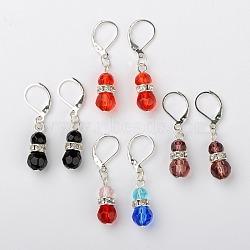 perles de verre boucles d'oreilles pendantes, avec strass en laiton moyen-orient et boucles d'oreilles créoles en laiton, couleur mélangée, 37 mm, pin: 0.5 mm(EJEW-JE01082)