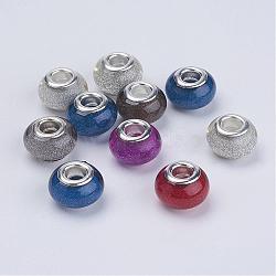Perles Européennes en acrylique avec grand trou, laiton avec ton argent noyaux doubles, rondelle, couleur mixte, 14x9mm, Trou: 5mm(X-OPDL-R118-M2)