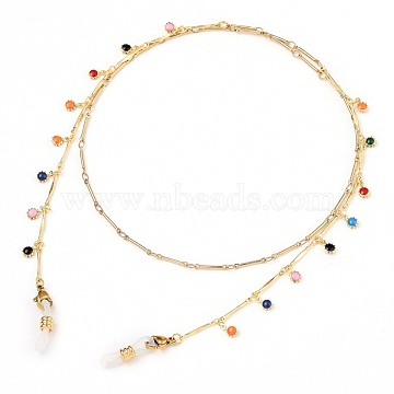 Eyeglasses Chains, Neck Strap for Eyeglasses, with Brass Enamel Bar Link Chains, 304 Stainless Steel Lobster Claw Clasps and Rubber Loop Ends, Flower, Colorful, Golden, 25.98 inches(66cm)(AJEW-EH00093-01)