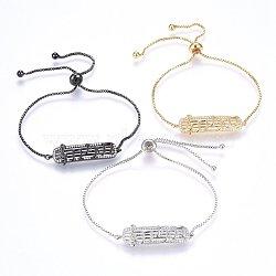 """Bracelets réglables en laiton à micro-pavé de zircons cubiques, Bracelets coulissants, rectangle avec note de musique, clair, couleur mixte, 11"""" (28cm); 1.2mm(BJEW-H583-28)"""