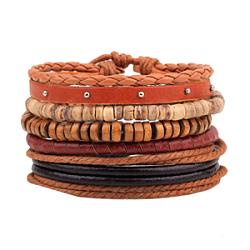 """Bracelets de multi-brins, de simili cuir, Cordon en coton ciré, perle en bois, corde de chanvre et de noix de coco, orange foncé, 60mm (2-3/8""""); 5strands / set(BJEW-N0011-012)"""