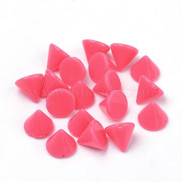 Opaque Acrylic Rivet Beads, Garment Accessories, Cone, Cerise, 10x8.5mm, Hole: 1mm; about 1370pcs/500g(SACR-R902-18C)