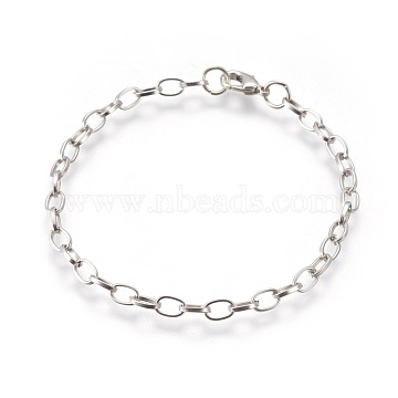 Iron Cable Chain Bracelet Making, with Lobster Claw Clasps, Platinum, 205mm, Clasp: 12x7x3mm, Link: 7x4.5x1mm(X-IFIN-H031-P)