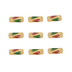 Perles en émail d'alliage de style chinois, Tube, or, colorées, 13.5x5mm, Trou: 1.6mm(X-ENAM-L015-08C-G)
