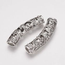 Perles de tube en alliage de style tibétain, courbé, creux, avec des strass, argent antique, 52.5x13x7mm, Trou: 4x7mm(PALLOY-G172-01AS)