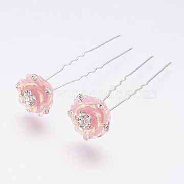 (Defective Closeout Sale), Iron Hair Forks, with Resin and Rhinestone, Flower, Silver Color Plated, Pink, 75mm(PHAR-XCP0001-04A)