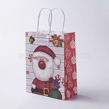kraft Paper Bags, with Handles, Gift Bags, Shopping Bags, For Christmas Party Bags, Rectangle, Colorful, 27x21x10cm(CARB-E002-M-A05)