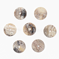 Natural Akoya Shell Beads, Mother of Pearl Shell Beads, Flat Round, Camel, 10x1~2mm, Hole: 1.4mm(SHEL-R048-028B)