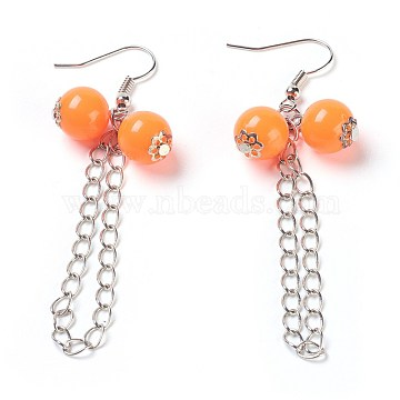 (Defective Closeout Sale), Fashion Acrylic Dangle Earrings, with Brass Chains and Brass Earring Hooks, DarkOrange, 70mm(EJEW-XCP0001-02A)