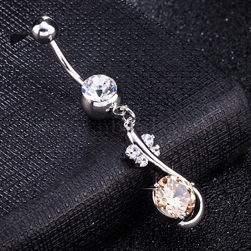 Brass Cubic Zirconia Navel Ring, Belly Rings, with Use Stainless Steel Findings, Cadmium Free & Lead Free, Flower, Bisque, 47mm, Pin: 1.5mm(AJEW-EE0004-48)