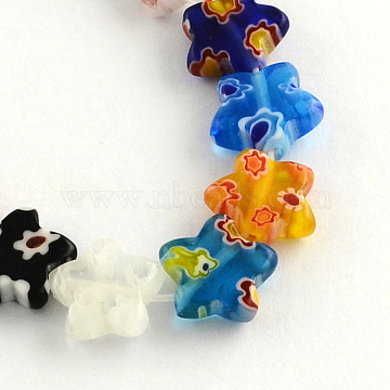 Flower Handmade Millefiori Glass Beads Strands, Mixed Color, 10x10x3mm, Hole: 1mm, about 38pcs/strand, 12.9 inches(X-LK-R004-33)