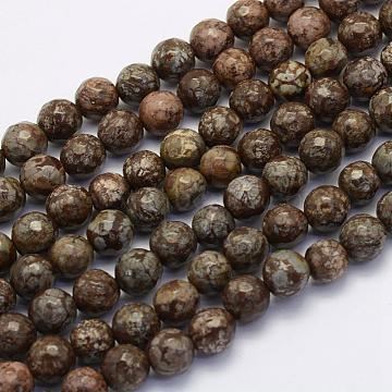 Natural Snowflake Obsidian Beads Strands, Round, Faceted, 10~10.5mm, Hole: 1mm; about 36pcs/strand, 15.7inches(40cm)(G-G697-F07-10mm)