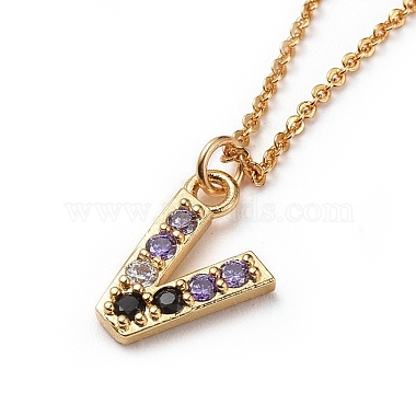 Letter Brass Micro Pave Cubic Zirconia Initial Pendants Necklaces(NJEW-JN02585-20)-2