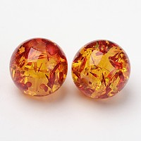 Imitation Amber Resin Beads, Gold, Round, about 16mm in diameter, hole: 3mm