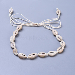 colliers de lariat ajustables en perles de nacre, avec des cordons de coton ciré, palegoldenrod, 35.8 (91 cm)(X-NJEW-JN02394)