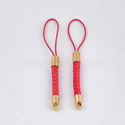 ремни мобильных телефонов для оборванных шармов, поделки сотовый телефон петля плетеный шнур нейлона, с концами шнура золотой латуни, красный, 55~57x4 mm(MOBA-T001-01C)