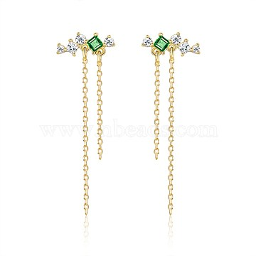925 Sterling Silver Cable Chain Ear Studs, with Cubic Zirconia, Clear & Green, Golden(EJEW-BB35501)