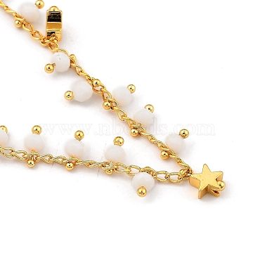 Brass Beaded Necklaces, with Curb Chains, Faceted Glass Beads and Star Beads, Golden, 16.22 inches(41.2cm)(NJEW-JN03040)
