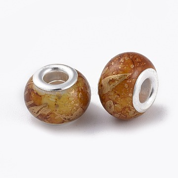 Glass European Beads, Large Hole Beads, with Silver Color Plated Brass Cores, Rondelle, Peru, 14~15x9~10mm, Hole: 5mm(GPDL-E003-01)