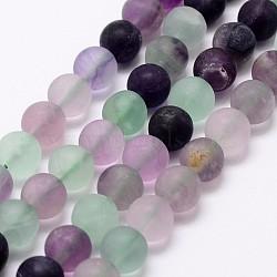"""Chapelets de perles en fluorite naturelle, rond, mat, 8mm, Trou: 1mm, Environ 48 pcs/chapelet, 15.3"""" (39 cm)(G-A163-06-8mm)"""
