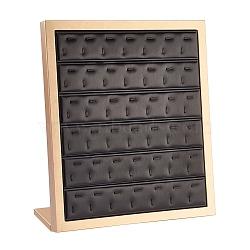 PU Leather Pendant Displays, with Wood, Jewelry Display Stand, Black, 30.2x13.1x35cm(ODIS-L003-01)
