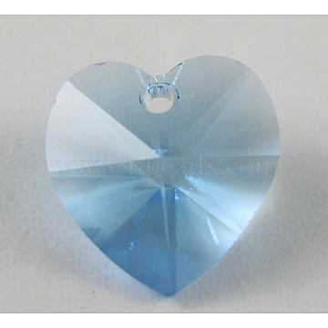 Austrian Crystal Beads, Mother's Day Jewelry Making, Heart, Aquamarine, 10mm long, 5mm thick. hole:1mm(6202_10mm202)