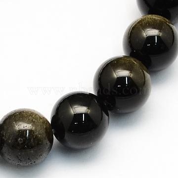 7mm Round Golden Sheen Obsidian Beads