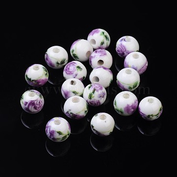 Handmade Printed Porcelain Beads, Round, Orchid, 8mm, Hole: 2mm(X-PORC-Q199-8mm-01)