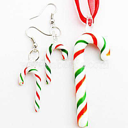 Handmade Lampwork Jewelry Sets, Earrings and Necklaces, Candy Cane, Colorful, 65x20mm(X-LAMP-C1129-1-A)