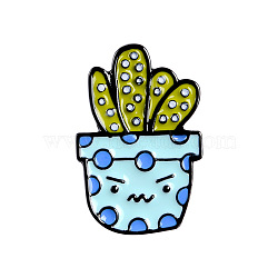 Creative Zinc Alloy Brooches, Enamel Lapel Pin, with Iron Butterfly Clutches or Rubber Clutches, Electrophoresis Black Color, Cactus, Colorful, 26x12.5mm; Pin: 1mm(JEWB-Q031-113)