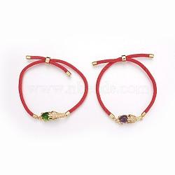 bracelets en corde de coton, bracelets bolo, bracelets de slider, chaînes de boîte, en laiton avec micro pavé de zircone, réel 24 k plaqué or, plaqué longue durée, Pi Xiu, couleur mélangée, 8-5 / 8(BJEW-F360-C)