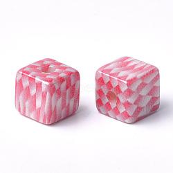 perles acryliques imprimés, cube avec motif tartan, rouge, 12x12x12 mm, trou: 3.5 mm(MACR-T024-66A)