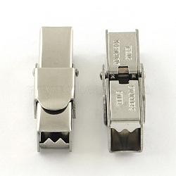 Surface lisse fermoirs de bande de montre 201 en acier inoxydable, couleur inoxydable, 25x7x8mm, Trou: 5x5mm(STAS-R063-89)