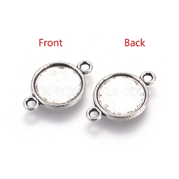 Alloy Cabochon Connector Settings, Lead Free & Cadmium Free & Nickel Free, Flat Round, Antique Silver, 18x12x2mm, Tray: 10mm, Hole: 2mm(X-PALLOY-A13117-AS-NR)