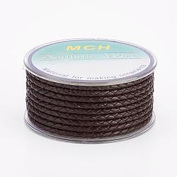 Environmental Braided Leather Cord, Leather Jewelry Cord, Jewelry DIY Making Material, CoconutBrown, 3mm; 5m/roll(OCOR-L035-3mm-E15)