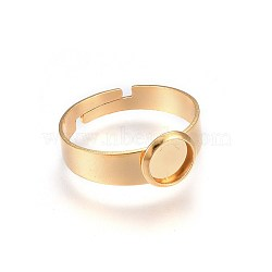 Adjustable 304 Stainless Steel Finger Rings Components, Pad Ring Base Findings, Flat Round, Golden, Size 7, 17~18mm; Inner Size: 6mm(X-STAS-G187-01G-6mm-1)