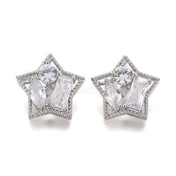 Brass Micro Pave Clear Cubic Zirconia Shank Buttons, Star, Platinum, 18x17x7mm, Hole: 1.2mm(KK-H738-27P)