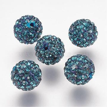 Half Drilled Czech Crystal Rhinestone Pave Disco Ball Beads, Small Round Polymer Clay Czech Rhinestone Beads, 207_Montana, PP9(1.5~1.6mm), 8mm, Hole: 1.2mm(RB-A059-H8mm-PP9-207)