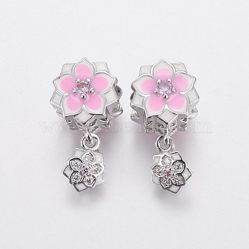 20mm Pink Flower Brass+Cubic Zirconia Dangle Beads