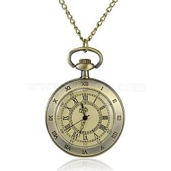 Flat Round Alloy Quartz Pocket Watches, with Iron Chains and Lobster Claw Clasps, Antique Bronze, 31.4 inches; Watch Head: 65x47x13mm; Watch Face: 35mm(WACH-N039-07AB)