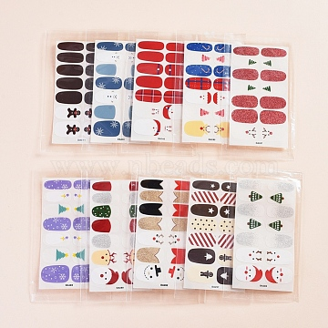 Lovely Full Cover Nail Art Stickers, Self-adhesive, for Nail Tips Decorations, Mixed Color, 10x5.5cm, 10pcs/set(MRMJ-X0029-07D)