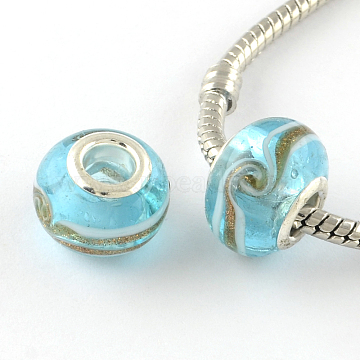 Rondelle Handmade Gold Sand Lampwork European Large Hole Beads, with Silver Color Plated Brass Cores, Light Sky Blue, 14x9~10mm, Hole: 5mm(X-LPDL-R007-07B)