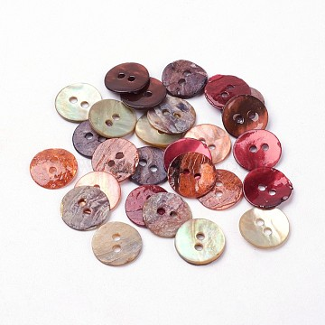 2-Hole Shell Buttons, Dyed, Flat Round, Mixed Color, 10~11x1mm, Hole: 1.5mm, 144pcs/gross(BUTT-L019-01A)
