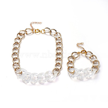 Aluminum Curb Chain Jewelry Sets, Bracelets & Necklaces, with Transparent Acrylic Linking Rings Rhinestone Settings and Brass Spring Ring Clasps, Light Gold, 7-1/2 inches(19cm), 15.94 inches(40.5cm)(SJEW-JS01095)