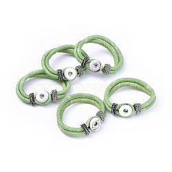 PU материалы кожаный браслет, с латунными снимками и фурнитурой сплавочной, оснастки браслеты, платина, салатовый, 230x19 мм(X-AJEW-R023-06)