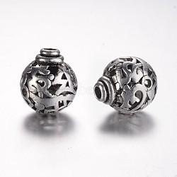 Perles en alliage de style tibétain avec 3 trou, perles t-percées, rond, argent antique, 16x14mm, Trou: 3mm(X-PALLOY-YC45776-AS)